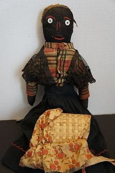 #unitedsellers 19th C. Black cloth doll with original clothes, COUNTRY AND SHAKER ANTIQUES on Trocadero. #antique #doll