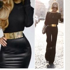 Chic gold metal black stretch band belt Hottest trend gold metal black stretch band belt this great belt also comes with beige band Accessories Belts