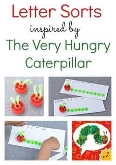 The Very Hungry Caterpillar Activities includes this fun letter sort to help kids learn visual discrimination and a fun vocabulary app! | Eric Carle | Children's Books | Alphabet | ABCs | Toddler | Preschool |