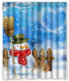 Snowman Shower Curtain #snowmanshowercurtainglam #showercurtainglamour