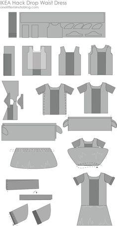 Ikea Hack Drop Waist Dress Tutoriels Pour Coudre Une Robe, Facile À Coudre,  Taille 42df5d5150c