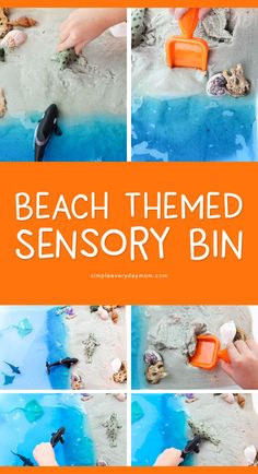 Bring the beach at home to your backyard with this fun ocean theme preschool sensory bin. It helps kids learn about ocean animals, plus explore their body's senses. Sea Activities, Preschool Activities, Summer Activities, Zoo Preschool, Indoor Activities For Toddlers, Vocabulary Activities, Motor Activities, Infant Activities, Kindergarten