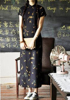 Cotton Linen Long Navy Chinese Dress /Cheongsam by RockRollRefresh, $69.00  totally ware the whole look
