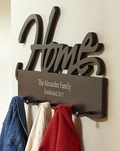 Home/Family Coat Rack - Couple gift idea - Free up the closet with this elegant coat rack that could be personalised with any family name. The perfect gift for a couple! - $59.99