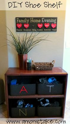 DIY Shoe Shelf - super easy way to organize and keep tidy all your family shoes pile! Just toss the pairs of tennis shoes into each family member's basket and quickly stash them away for a clean streamlined look - great back to school organization trick a