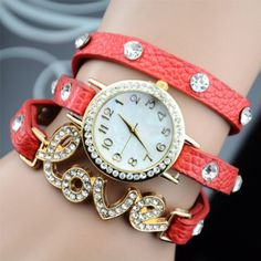 Fashion LOVE Rhinestone Bracelet Watch Tag Watches beede8a160c46