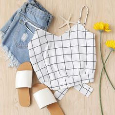 Checked Split Tie Back Crop Cami Top