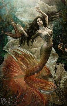 70 ideas for fantasy art creatures water Siren Mermaid, Mermaid Fairy, Mermaid Tale, Tattoo Mermaid, Mermaid Artwork, Mermaid Drawings, Mermaid Paintings, Fantasy Mermaids, Mermaids And Mermen