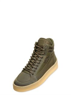 ETQ.AMSTERDAM - HANDMADE HIGH 2 LEATHER & NYLON SNEAKERS - ARMY GREEN