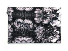 Handmade Monochrome Roses Envelope Clutch Bag V from maxandrosie.co.uk