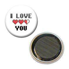 Magnet Badge 38 mm - I Love You Je t'aime Coeur Zelda Saint Valentin : Accessoires de maison par miss-kawaii