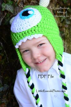 Mike Wazowski Character Hat inspired by Monster's Inc. * Crochet Design by April Burwick of TheCozyBuckeye