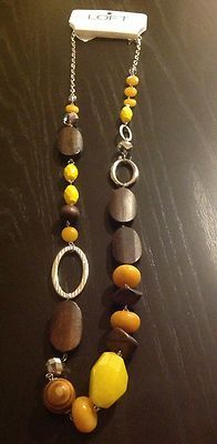 LOFT Long Necklace Silver Chain w/ Yellow And Brown