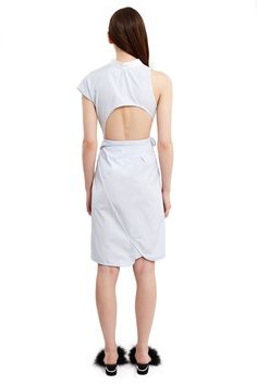 Alexander Wang, Deconstructed Wrap Shirt Dress This surf-inspired shirt dress comes in a wrap-style construction that creates an asymmetrical hem and a deep front slit., V-neck, Sleeveless and short-sleeve, Offset buttoned placket, Chest pocket, Self-tie waist sash, Knee length, 100% cotton, Imported