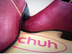 schuh Confession burgundy mock croc ankle boots