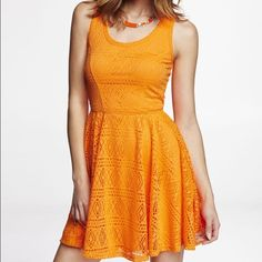 Express Orange Lace Skater dress Geometric lace skater dress. Size XS, UNWORN NEW without tags. Express Dresses Midi