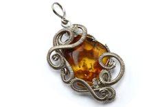 Wire Wrap Amber Pendant  Stone Pendant  Honey by HyppieChic, $62.00