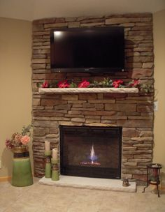Furniture, Brown Stone Fireplace Ideas With Small White Marble Mantel Pink Flowers Also Wall Mount Lcd Tv  On Outstanding Furniture : Fabulous Decorating Stone Fireplace Ideas