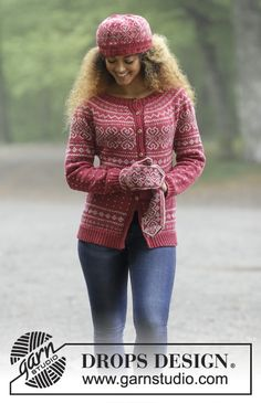 Rosendal / DROPS - The set consists of: Knitted jacket with round yoke and multi-coloured Norwegian pattern, worked top down. Sizes S - XXXL. Hat and mittens with multi-coloured Norwegian pattern. The set is worked in DROPS Merino Extra Fine. Ladies Cardigan Knitting Patterns, Knitting Machine Patterns, Fair Isle Knitting Patterns, Knitting Designs, Knit Patterns, Tejido Fair Isle, Punto Fair Isle, Motif Fair Isle, Drops Design