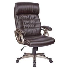 Office Star Executive Bonded Leather Chair with Adjustable Padded Arms, Multiple Colors, Silver