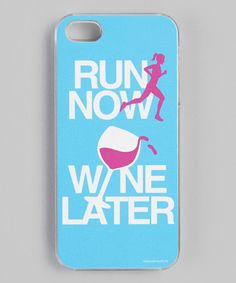 Blue 'Run Now, Wine Later' iPhone Case