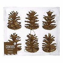 CANVAS Gold & Copper Pinecone Ornaments, 6-pk