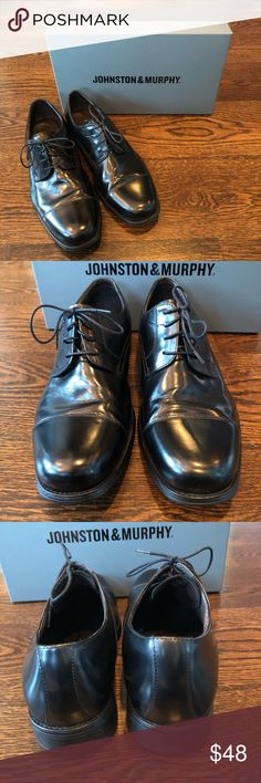 Johnston & Murphy Atchison Cap Shoe Black cap toe shoe bought from Macy's. My son wore to 2 high school dances. In excellent condition! Johnston & Murphy Shoes