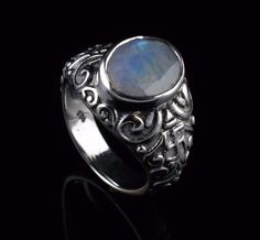 NATURAL RAINBOW MOONSTONE GEMSTONE MENS RINGS SIZE 7.75 US 925 STERLING SILVER #Unbranded