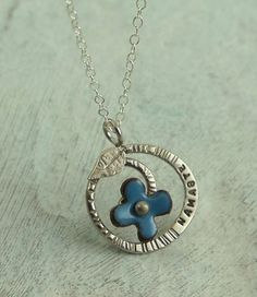 Namaste  Regrowth Necklace with blue flower  in by KathrynRiechert, $50.00   # Pin++ for Pinterest #