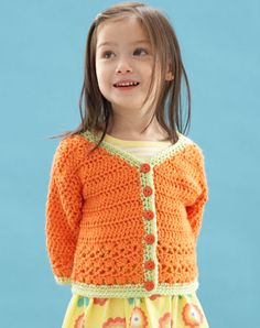 Sunny Toddler Cardigan  Designed by Mary Beth Temple  The minute the sun comes out and the leaves start to turn green, kids all over want to shed their winter coats. This thick sweater is a comfy play outside sweater for spring or fall, and its bright colors will entice your squirming toddler to put it on!   To fit child's sizes: 2 ( 4, 6, 8 ) yrs.  free pattern