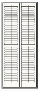 """Wood plantation shutter from theshutterstore.com, 30w x 72h, poplar paint bright white, full height with rail, divider height 36"""", slat sizes 2 1/2"""", push rod front, inside mount. $299.88. Faux wood shutters were exact same price as wood -- seems wrong. Not clear when to order -- faux shutters from The Shutter Store ship in 4-5 weeks."""
