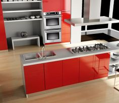 Modern Red kitchen featuring Verona double built-in ovens and Verona Cooktop. Red Kitchen, Kitchen And Bath, Kitchen Cabinets, Kitchen Appliances, Built In Ovens, Plumbing Fixtures, Verona, Modern, Table