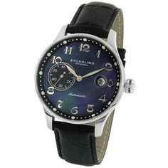 @Overstock.com - Stuhrling Original Men's Heritage Automatic Watch - This classic men's automatic watch will complement a professional wardrobe. The watch features a black mother-of-pearl dial, silver markers and hands, a bulbous crown, a black water-repellent French strap with alligator texture, and a black sub-dial.   http://www.overstock.com/Jewelry-Watches/Stuhrling-Original-Mens-Heritage-Automatic-Watch/2108195/product.html?CID=214117 $131.99
