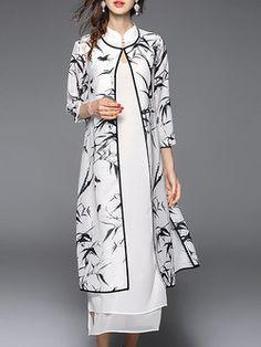 White 3/4 Sleeve Two Piece Midi Dress