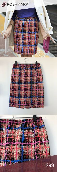 """J.Crew Collection Pencil Skirt in Electric Plaid J.Crew Pencil Skirt in a bright grid pattern featuring a back slit and a stretchy elastic waistband. Size 6. Finished with an elastic waistband and a long, lean shape tailored to perfection with flattering darts—so the smooth silhouette makes as much of an impression as its brilliant hues.   Silk. Sits above waist. Back zip. 23"""" long. Lined. Dry clean. Import. Item 98892. J. Crew Skirts Pencil"""