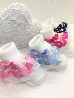 Handmade lilac roses frilly ankle socks baby//girls