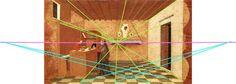 Ils inventent le point de fuite, point où convergent les lignes qui représentent la profondeur et que l'on appelle les fuyantes (ou lignes de fuite) Au début du XVIe s. apparait la notion de ligne d'horizon, ligne imaginaire qui se situe toujours devant nous, à la hauteur des yeux.// Paolo Uccello -  Le miracle de l'hostie , 1465-1469