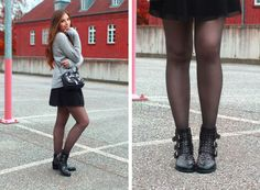 Fashion Love: OUTFIT: HIGH NECK STRICK PULLOVER, TÜLLROCK & NIETEN BOOTS