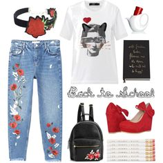Back to school in roses by texaspinkfox on Polyvore featuring Markus Lupfer, MANGO, WithChic and Kate Spade