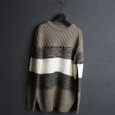 M. Gamma blu CABLE .cotton Mixed Round Neck Sweater