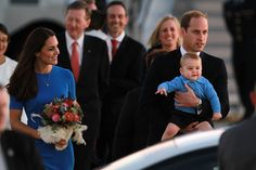 The Duke, Duchess, and Prince of Cambridge arriving in Canberra, Australia, April 2014 #katemiddleton #princegeorge