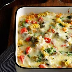Fontina Chicken & Pasta Bake Recipe -Eat it tonight, or freeze it for later. This cheesy casserole is still awesome months after you make it.  —Taste of Home Test Kitchen