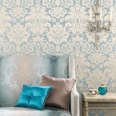 A classic damask with a modern mid-scale interpretation. Modern Georgian, Nina Campbell, Damask, Ornament, Tapestry, Classic, Home Decor, Modern, Psychics