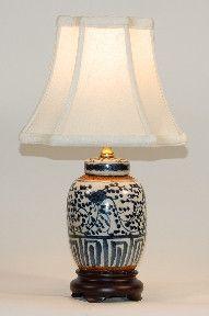 Small Blue-White Stoneware Lamp