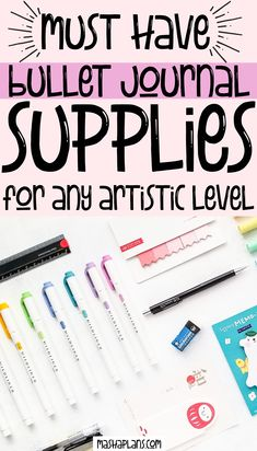 If you're planning on starting a Bullet Journal and you have no idea what supplies you need in order to start? Check out this list of supplies. After using ALL the supplies I could get my hands on I created a list of my favorite ones that would be a great fit for beginners and seasoned artists! #mashaplans #bulletjournal #stationery #bujoideas #supplies #bulletjournaling