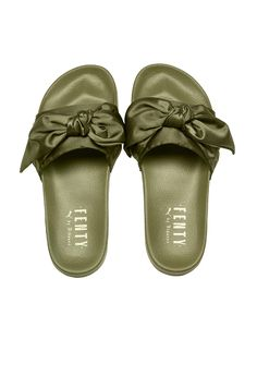 Fenty by Puma Bow Satin Slides in Olive Branch in Olive Brand | FWRD