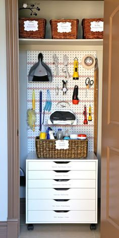 Lookie What I Did A Well Organized Utility Closet Many Great Ideas Here Especially That Wonderful Storage Cart From Ikea