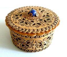 "Small Russian Birch Bark Wood Hand Crafted 2"" Trinket Box/Tiger Eye Knob #Handmade #Ornate"
