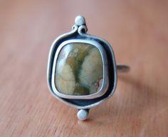 Rainforest Jasper Ring Sterling Silver by RubyPierceJewelry, $125.00