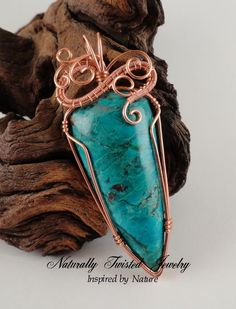 Chrysocolla and Copper wire wrapped pendant by Mary Olczyk of Naturally Twisted Jewelry